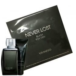 Coffret Never Lost Black Masculino Eau de Toilette EDT 100ml + Shower Gel 100ml.