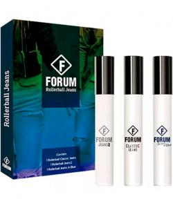 Kit Jeans Forum Rollerball Unissex Eau de Cologne 3 x 12ml